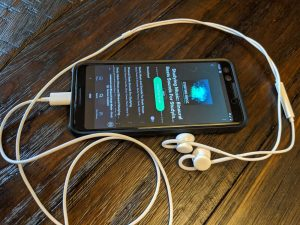 Smartphone with brainwave entrainment track selected.